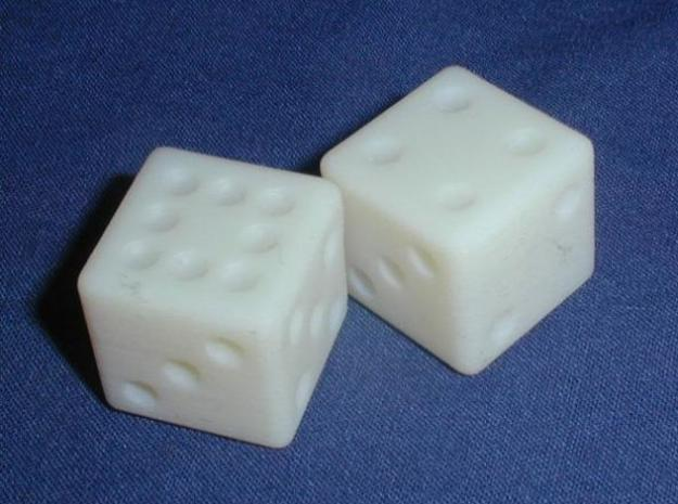 Sicherman Dice 3d printed In White Detail