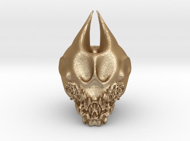 Bearded Skull in Matte Gold Steel: Medium