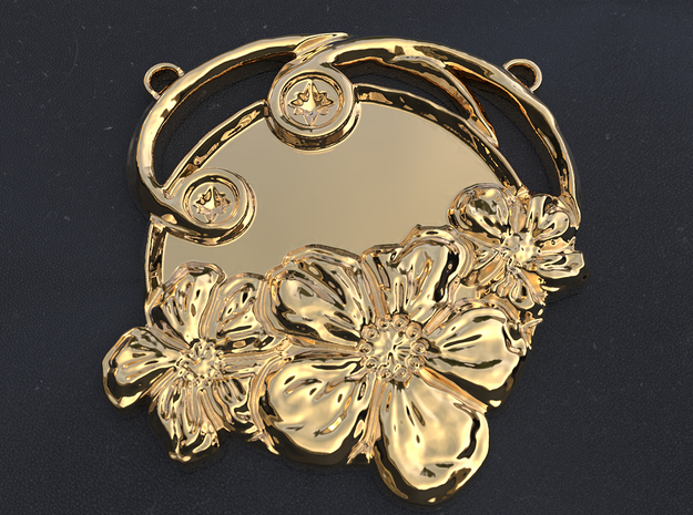 Art Nouveau Repoussé Flower Pendant SMK in Polished Brass