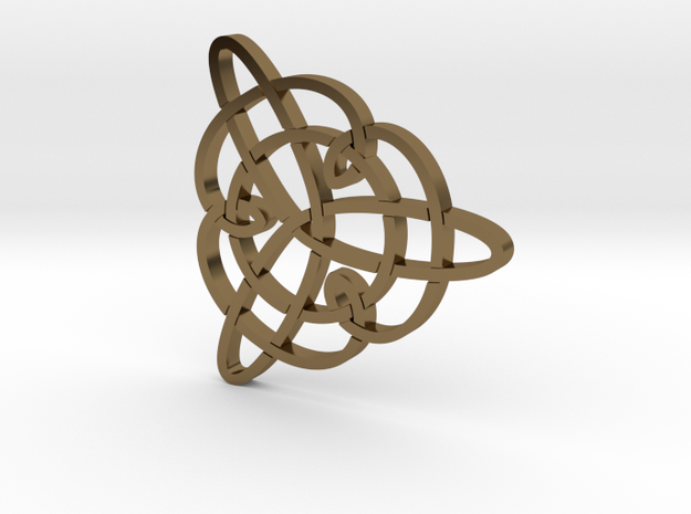 Trefoil Knot Pendant in Polished Bronze