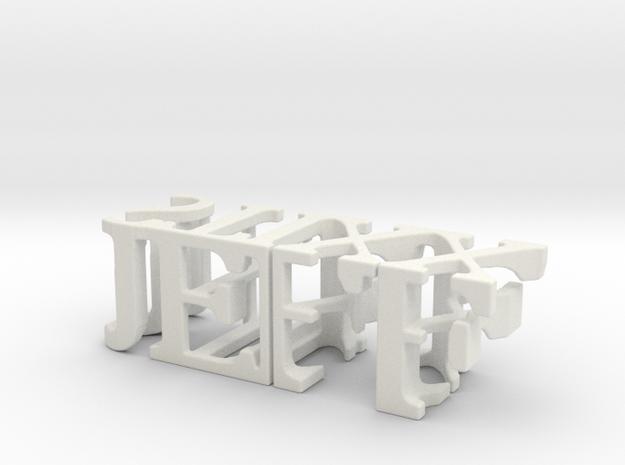 3dWordFlip: JEFF/STIXX in White Natural Versatile Plastic