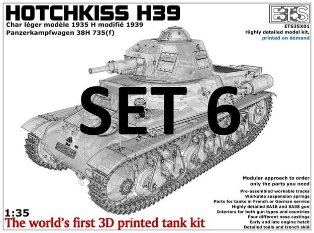 ETS35X01 Hotchkiss H39 - Set 6 (extra) in Smooth Fine Detail Plastic