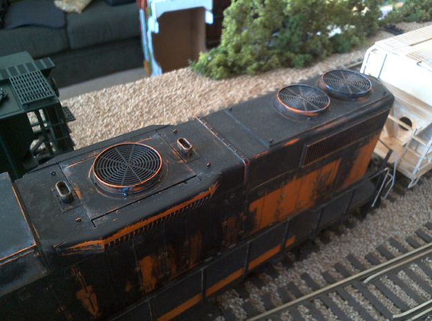 Dynamic Brake and Radiator Fans for O Scale Weaver in Smooth Fine Detail Plastic