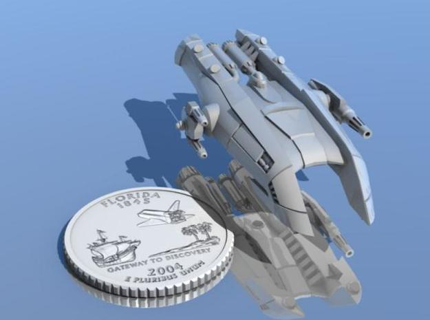Body Snatcher 3d printed Body Snatcher ship shown with a Florida quarter for scale.