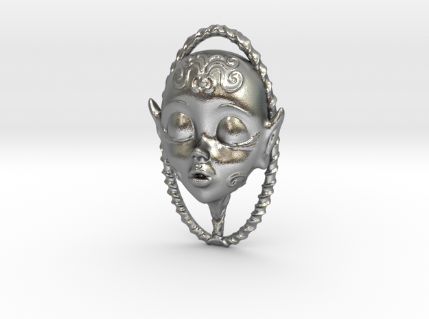 Doll faced Scent Locket in Raw Silver