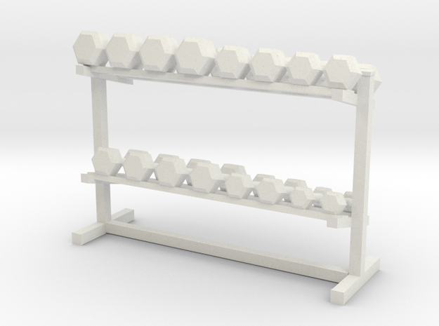1:48 Free Weight Rack in White Strong & Flexible
