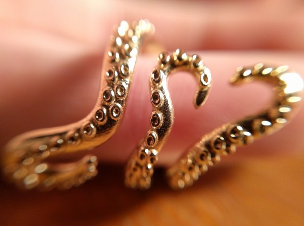 Tentacle Ring in Raw Brass: 5 / 49