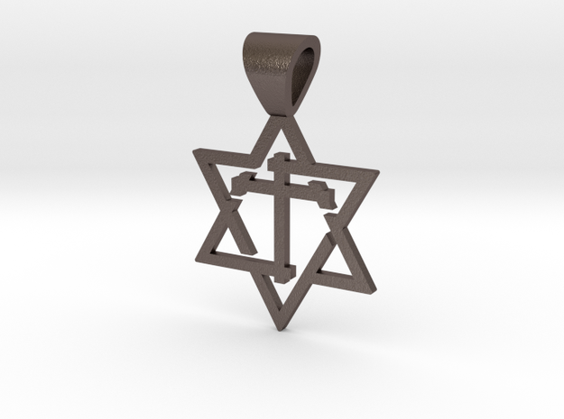 Star of David with the Cross in Stainless Steel