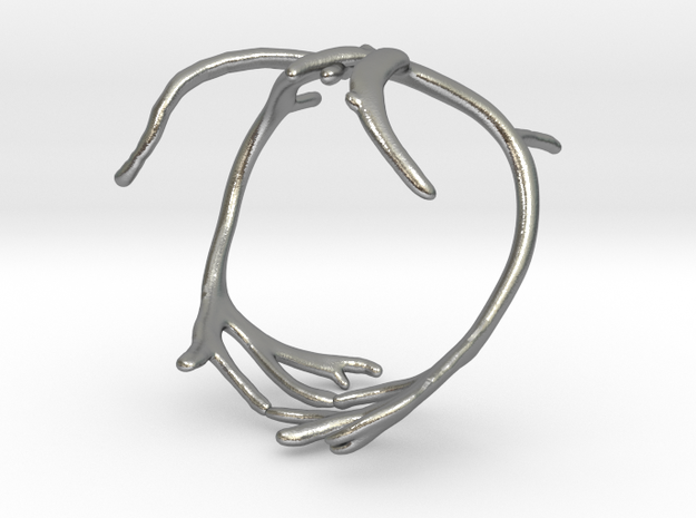 Reindeer Antler Ring in Natural Silver: 6 / 51.5