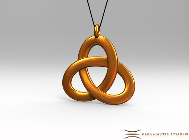 2.5D Open Triquetra Pendant 4.5cm in Natural Brass