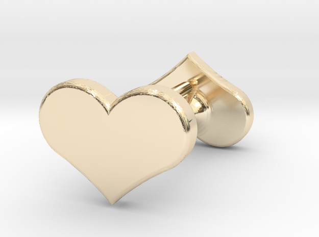 Solid Heart Earings in 14K Yellow Gold