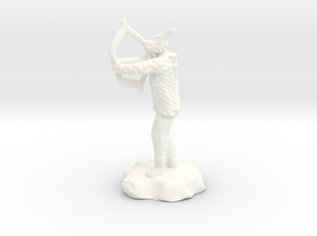 Dragonborn Fighter in Scale With Bow drawn in White Processed Versatile Plastic