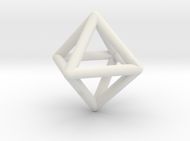 Octahedron Triangular Pyramid Pendant in White Natural Versatile Plastic