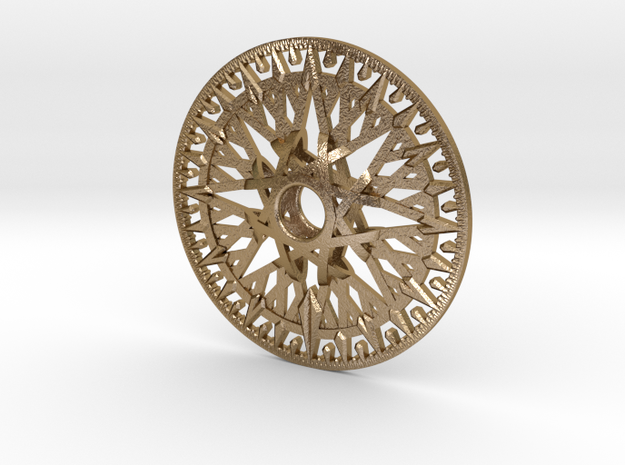 Archimedes Wheel - 12 Inch in Polished Gold Steel