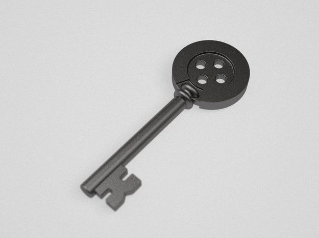 Coraline button Key Bald in Black Natural Versatile Plastic