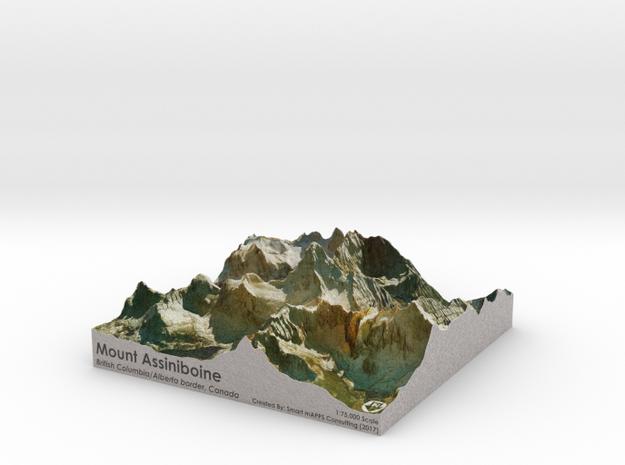 Mount Assinibonine Map - Vibrant in Full Color Sandstone