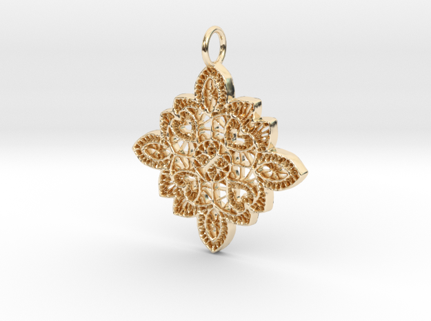Lace Ornament Pendant Charm in 14k Gold Plated
