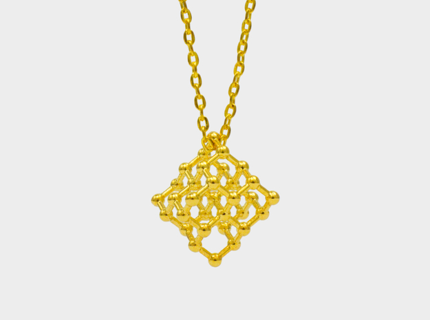 Diamond Molecule Necklace in 18k Gold Plated Brass