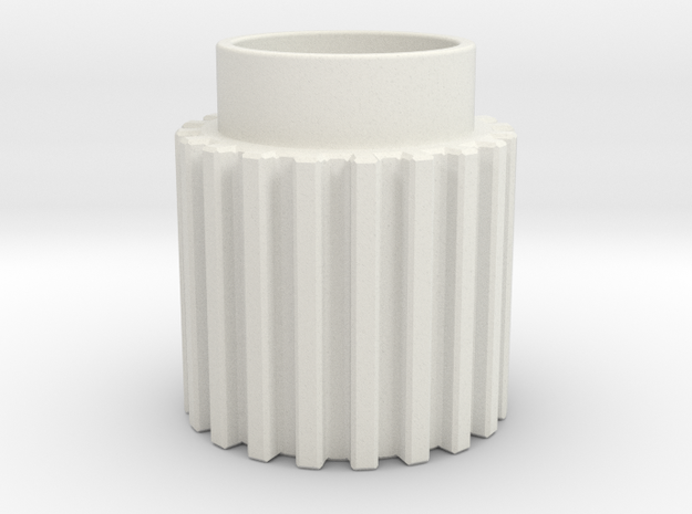 Chamfer Tooth Gear Heatsink in White Strong & Flexible