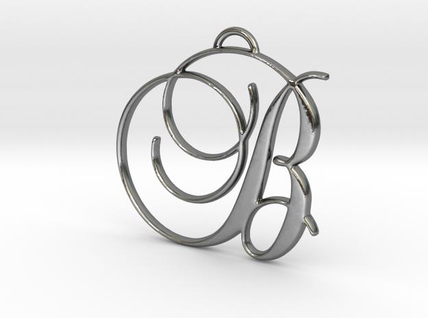 Elegant Script Monogram B Pendant Charm in Polished Silver