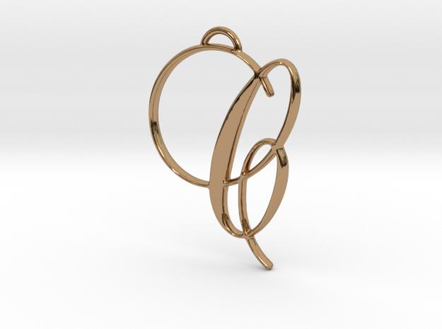 Elegant Script Monogram C Pendant Charm in Polished Brass