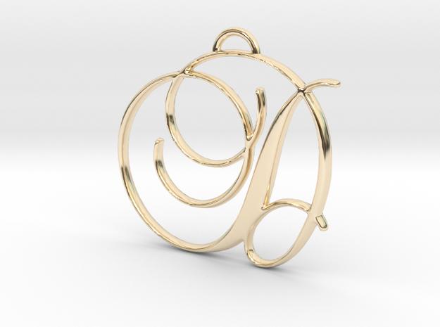 Elegant Script Monogram D Pendant Charm in 14k Gold Plated Brass