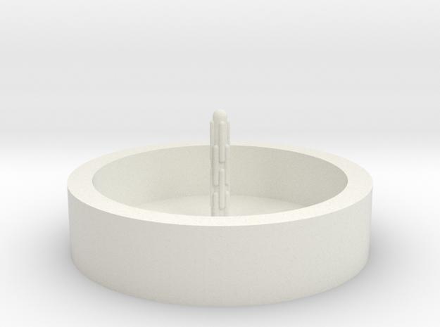 Zierbrunnen rund mit 1 Fontaine in White Natural Versatile Plastic