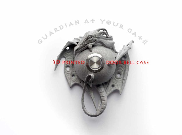 """Guardian at your gate"" - Dragon door bell in Polished Metallic Plastic"