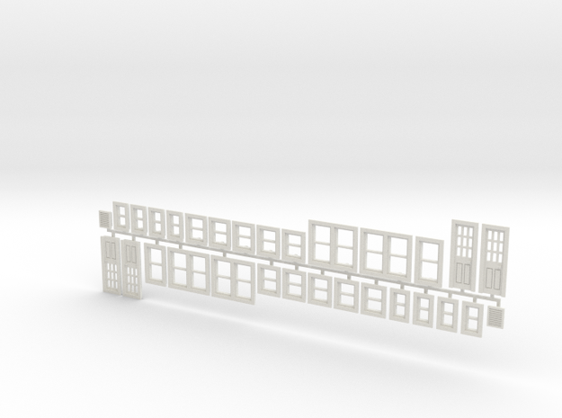 House Window set in HO scale in White Natural Versatile Plastic