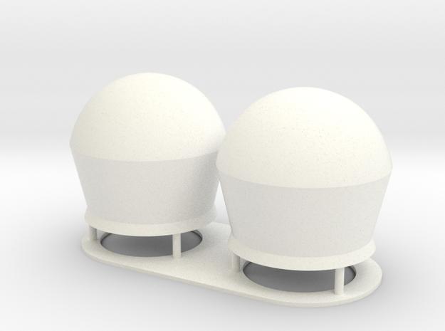 1:72 SatCom Dome Set 2 in White Processed Versatile Plastic