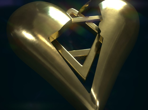 Israel in Heart Pendant in Polished Brass