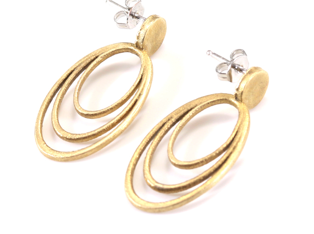 Triple Hoop Post Earrings in Raw Brass