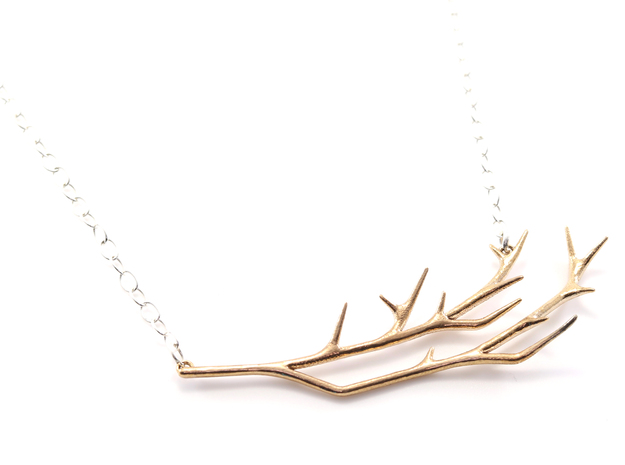 Delicate Branches Pendant in Raw Bronze