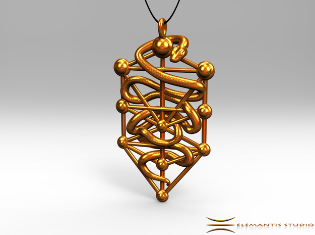 Kabbalah Serpent Pendant 6.5cm in Natural Brass