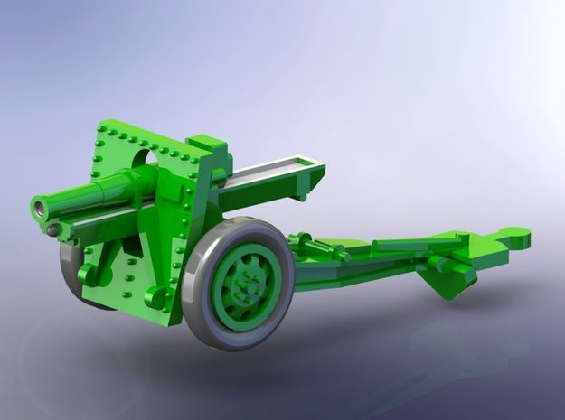 US 155mm M1918 Howitzer 1/160 N-Scale in Smooth Fine Detail Plastic