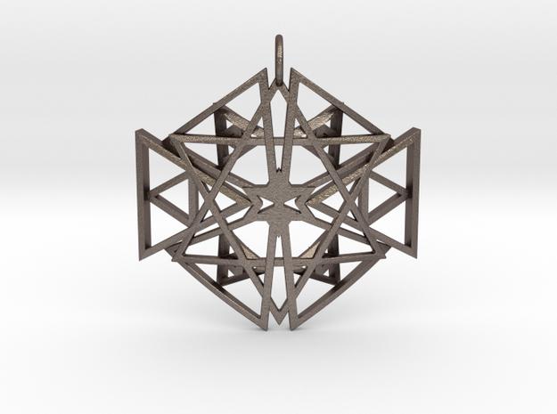 Lightbody Merkaba Matrix (Curved) in Polished Bronzed Silver Steel