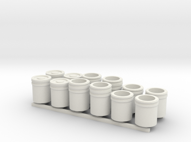 1:48 5 Gallon buckets Pack of Twelve.  in White Strong & Flexible