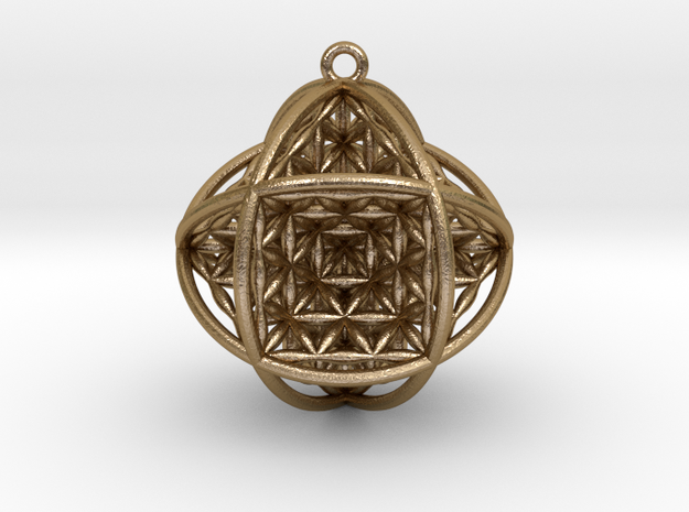"""Ball Of Life V2 1.5"""" Pendant in Polished Gold Steel"""