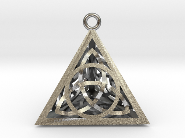 "Triquertahedron Pendant 1.2"" in Natural Silver"