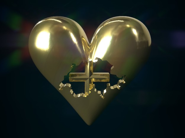 Switzerland (Suisse) in Heart Pendant in Polished Bronze
