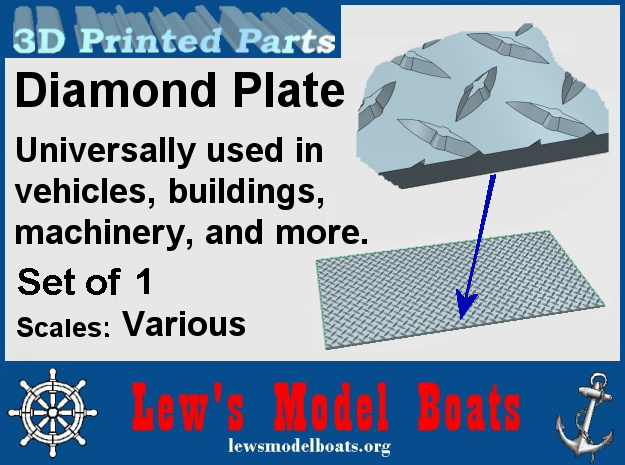 """Diamond Plate vari scales of 18"""" X 36"""" (full scale in Smooth Fine Detail Plastic: 1:8"""