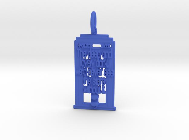 Whovian Semicolon Pendant in Blue Processed Versatile Plastic