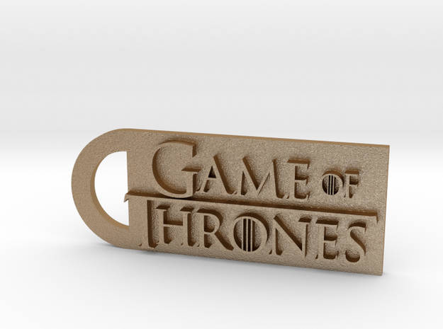 Game Of Thrones Keychain  in Matte Gold Steel