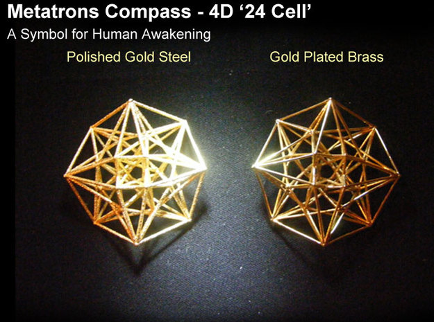 4D Vector Equilibrium Metatron's Compass 50mm -  in Natural Brass