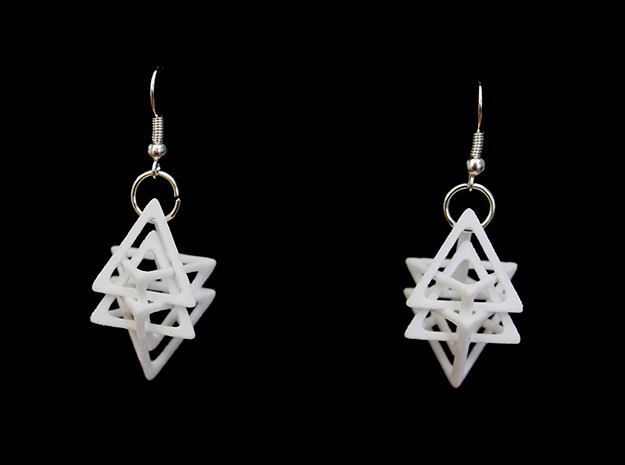 Dual Tetrahedron Earring in White Strong & Flexible Polished