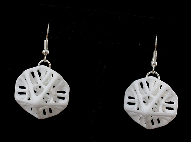 Decahedron Earings in White Processed Versatile Plastic