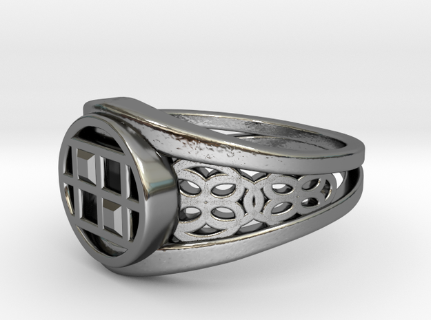 Capareda Twin Ring in Fine Detail Polished Silver