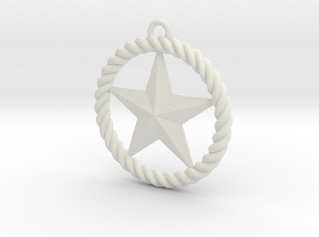 Braided Rope & Star Pendant. 30mm in White Natural Versatile Plastic