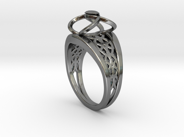 3-2 Enneper Curve Twin Ring in Fine Detail Polished Silver