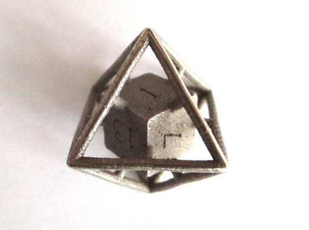 Average D8 Cage Dice 3d printed In Metal (side view)